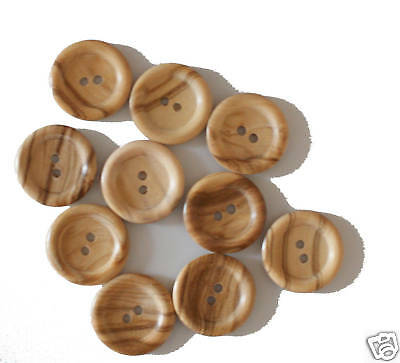 25 x Two Hole 23mm Rounded Natural Wooden Buttons
