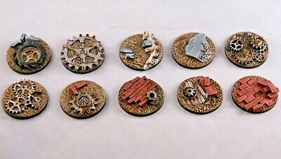 Junk 40mm resin bases x 5, Post apocalyptic, unpainted