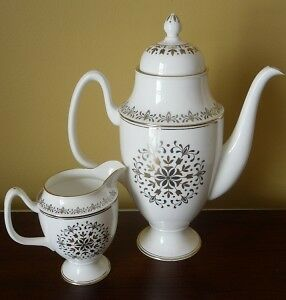Coalport SPANISH LACE coffee pot w/ lid and creamer A+