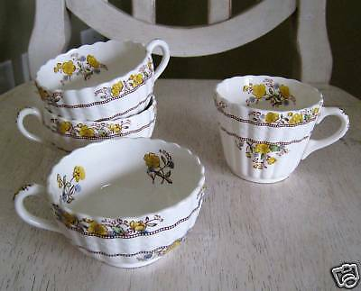 4 Copeland/Spode BUTTERCUP Coffee/Tea Cups Later Stamp