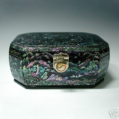 Mother of Pearl Inlaid Wood Lacquer Jewelry Unique Decorative Treasure Box Chest