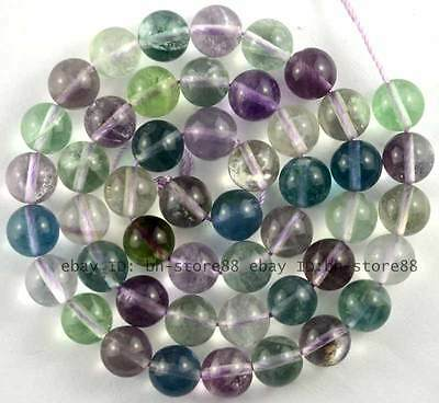 8mm Natural Multicolour Fluorite Round Beads 15''