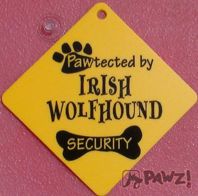 Pawtected IRISH WOLFHOUND Dog Security Car Window SIGN