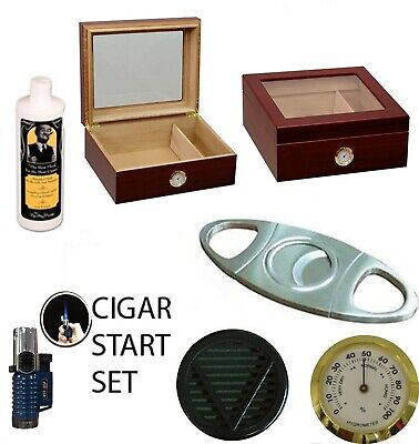 50 ct CIGARS HUMIDOR GLASS TOP GIFT SET LIGHTER CUTTER Cedar lined BLACK finish