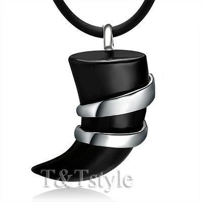 UNIQUE TT Stainless Steel Black Onyx SPEAR Pendant Necklace NP45