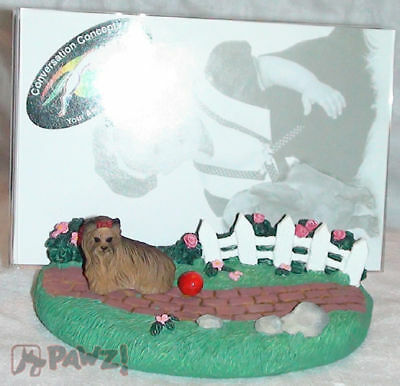 YORKSHIRE TERRIER Yorkie by Fence Dog Resin Picture Photo Frame