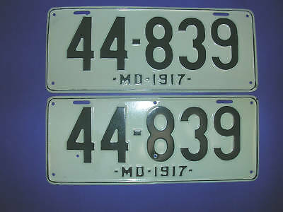 1917 Maryland License Plates matched pair repainted