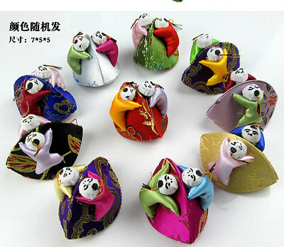 Wholesale12pc Chinese Handmade Unique Vintage With2 Cute Kids Silk Jewelry Boxes