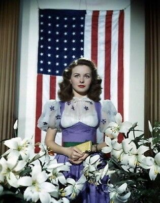 Jeanne Crain 11X14 Photo American Flag Frm Transparency