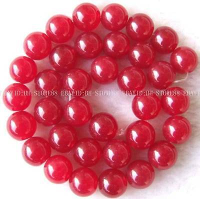 New 12mm Red Jade Round Gemstone Beads 14.5''
