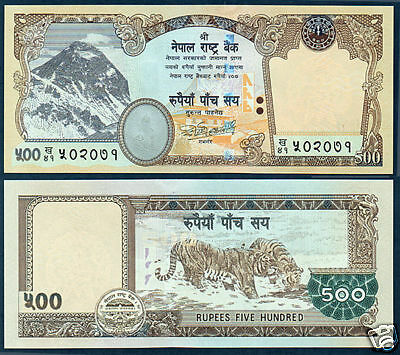 NEPAL-2009 EVEREST n FLOWER watermark, signature 18 only one Rs 500 BANKNOTE UNC