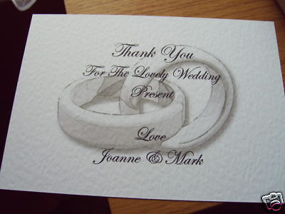 5 Personalised Wedding Thank You Cards Rings