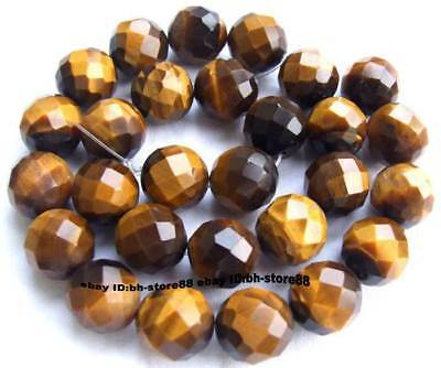 14mm Yellow Tiger Eye Round Faceted Beads 15''