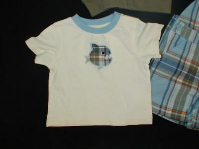 Gymboree LITTLE CHOMPER Plaid Fish Tee Top NWT 0-3