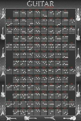 GUITAR CHORDS POSTER 61x91cm NEW * rock music learning aid reference tabs chart