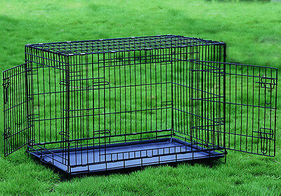 "30"" Folding Dog Crate Cat Cage Kennel 2 Door w/Divider"