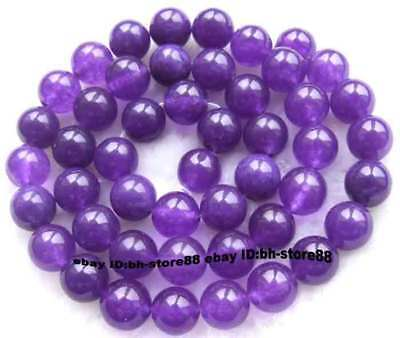 8mm Purple Jade Round gemstone Beads 15''