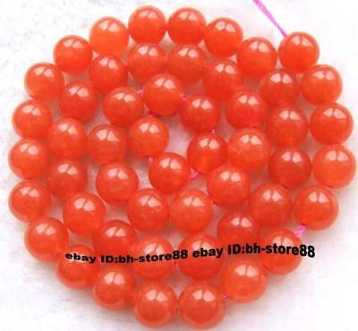 8mm Orange Jade Round gemstone Beads 15''