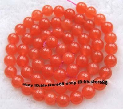 6mm Orange Jade Round gemstone Beads 15''