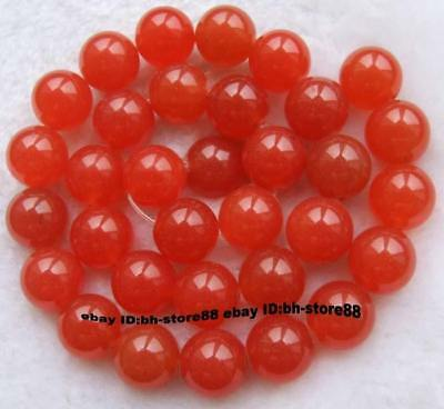 12mm Orange Jade Round gemstone Beads 15''