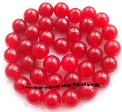 10mm Red Jade Round gemstone Beads 15''