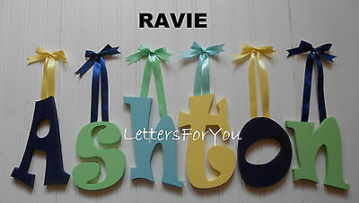 """Wooden Wall Letters 8"""" size Painted Wood Child Nursery Playroom Dorm Decor Ravie"""