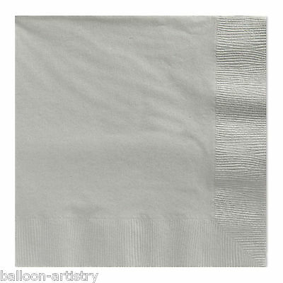 20 SILVER 33cm Paper Napkins Serviettes Birthday Wedding Party Catering