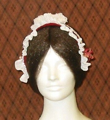 Lovely! Lady's Civil War Era Repro Madame Maintenon Headpiece in White & Red