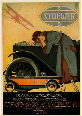 Plakat STOEWER Automobile 1922 Oldtimer, Reprint farbig