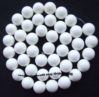 10mm natural  White Ocean shell  Round Loose Beads 15''