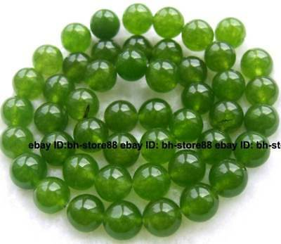8mm Green Jade Round gemstone Beads 15''