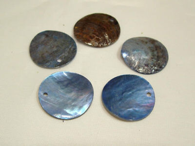 20 x Natural Shell Dyed Bead Discs : BNS12 Blue