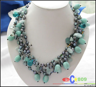 3row gray pearl reseda opal blue drip crystal necklace