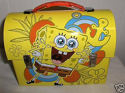 SpongeBob-Yellow`Dome Style...Ship With Anchor..Metal Lunchbox`Free To US