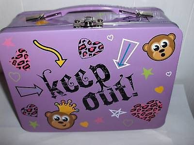Keep Out-Hearts`Monkey`Full Size`NEW Unused-Metal School Lunchbox->Free To US
