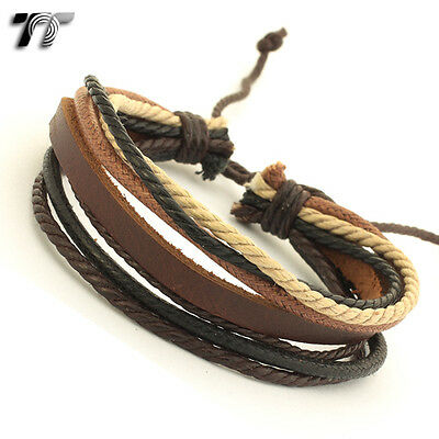 STYLISH T&T Brown Leather Bracelet Wristband NEW LB110
