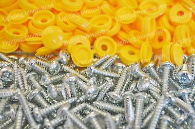 Number Plate Car Fixing Fitting Kit Screws & Caps X 1000