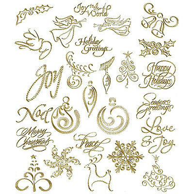"ABC Designs Christmas Gold - 26 Machine Embroidery Designs Set for 4""x4"" Hoop"