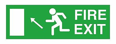 1x Fire Exit Left Up Sticker