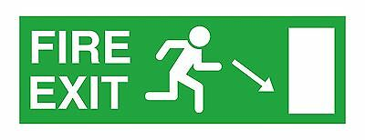 1x Fire Exit Right Down Sticker