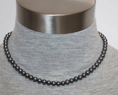 """eli k Sterling Silver 6mm Glass Base Gray Pearl 16"""" Necklace"""