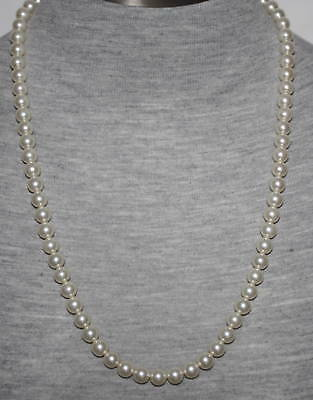 """eli k Sterling Silver 8mm Glass Base White Pearl 24"""" Necklace"""