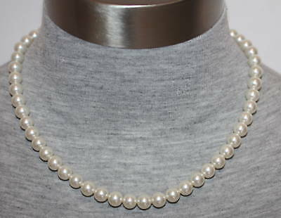 """eli k Sterling Silver 8mm Glass Base White Pearl 16"""" Necklace"""