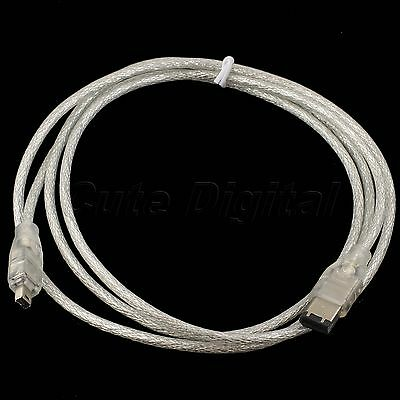 5FT 1.5M 6 Pin Male to 4 Pin Male i.Link IEEE 1394 Firewire Cable Lead DV Cable