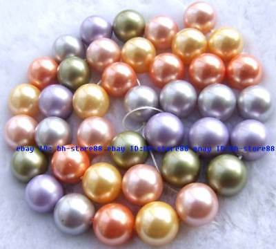 10mm new multicoloured Pearl Shell Round Beads 15''