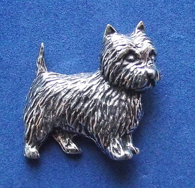 Pewter Grey Friars Bobby Terrier Dog Brooch Pin