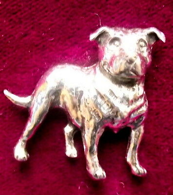 Pewter Staffordshire Pit Bull Dog Brooch Pin Signed