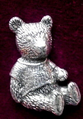 Quality  Vintage Teddy Bear  Pewter Pin Brooch