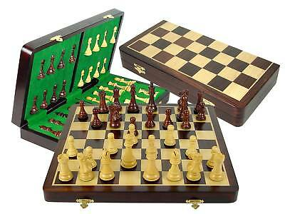 """Staunton Chess Pieces Chess Board 18"""" Rosewood 4"""" King"""
