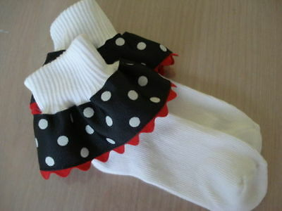 Custom Boutique Ruffle Ribbon Polka Dot Minnie Socks